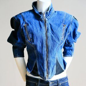 Cropped Fitted 90s Denim Moto Sexy Jacket